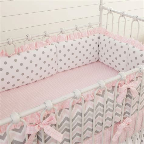 bumpers for baby crib pink and gray chevron crib bumper carousel designs