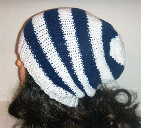 white knitted beanie hat blue and white striped knit hat striped beanie s hat