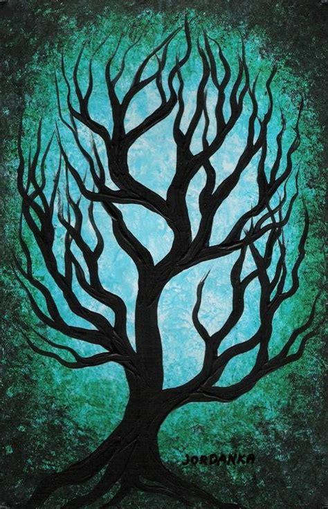 acrylic painting of trees green oak tree tree painting original by treeartist
