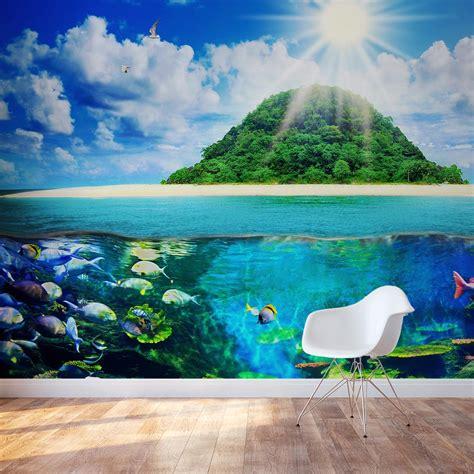 island sea wall mural