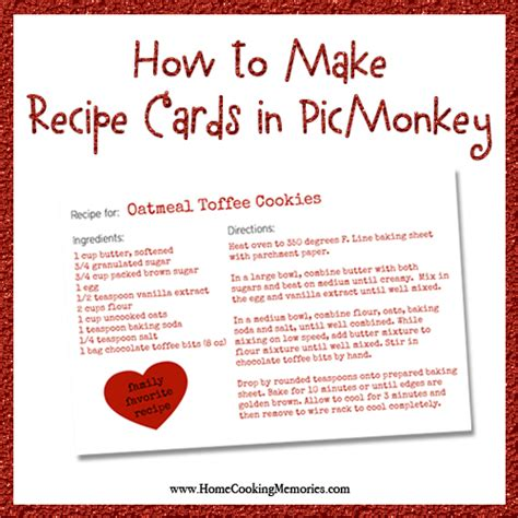 make your card for free how to make recipe cards in picmonkey home cooking memories