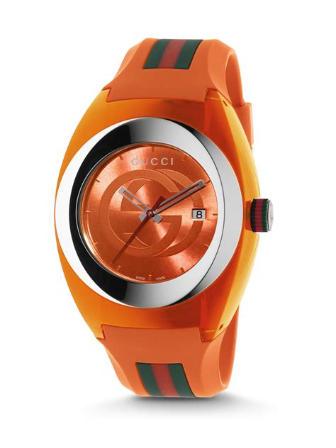 rubber st signature gucci signature orange rubber in orange for