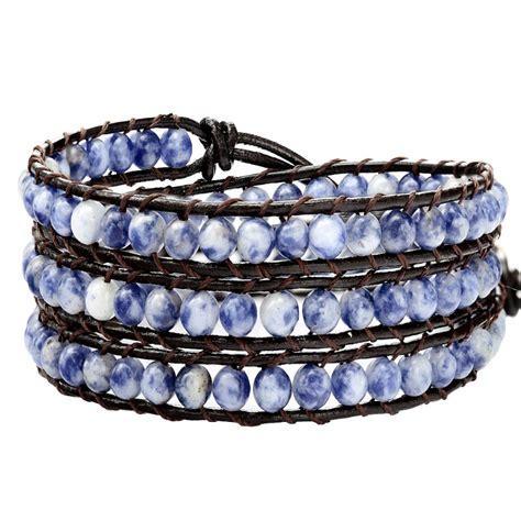 bead wrap bracelet handmade blue wrap bracelet on brown leather