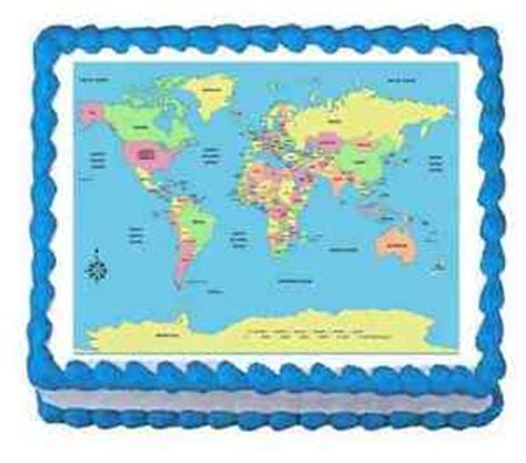 Frosting Decorations by Custom Cake Topper World Map Frosting Sheet Personalized