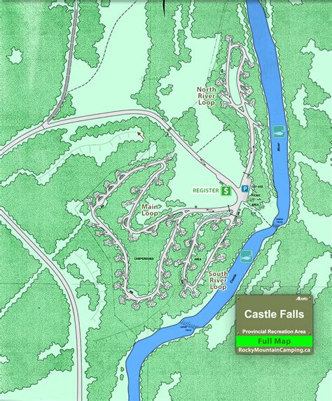 Castle Falls Campground, Campground Map, Crowsnest Pass ...