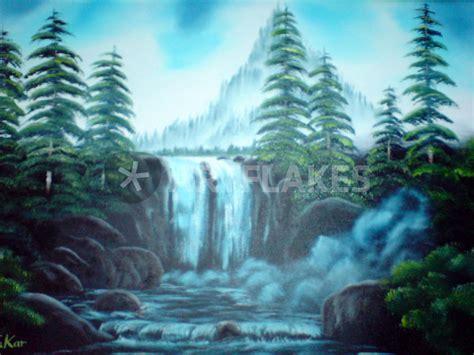 bob ross painting poster quot wasserfall waterfall nach bob ross quot painting prints