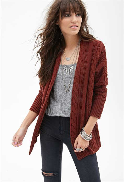 knit cardigan forever 21 forever 21 cable knit batwing cardigan in brown lyst