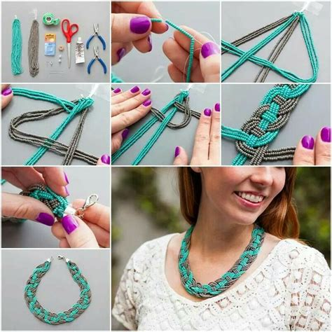 diy beaded jewelry tutorials collar trenzado de chaquira accesorios de moda ideas