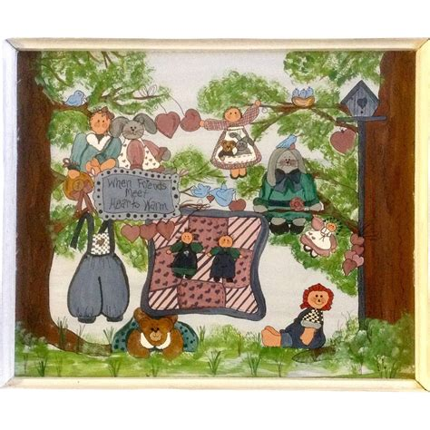 folk acrylic paint on canvas folk country dolls bunnies birds and bears when