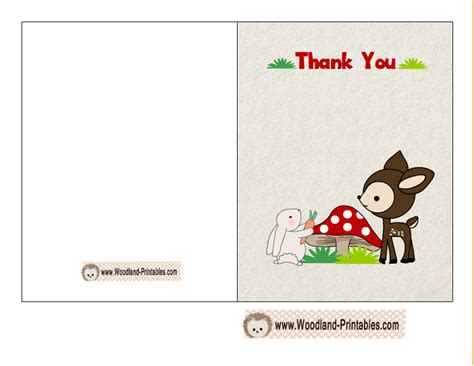 card for free to print free printable woodland baby shower thank you cards