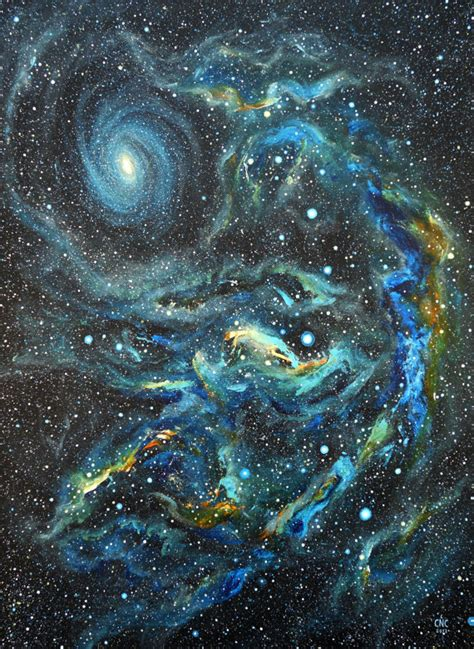 acrylic painting space blue galaxy and nebula original acrylic space painting