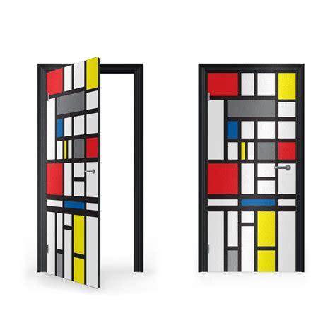 Custom Wall Mural mondrian abstract art vinyl sticker for door vinyl