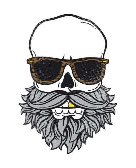 skull beard bearded skull print by ort design studio society6