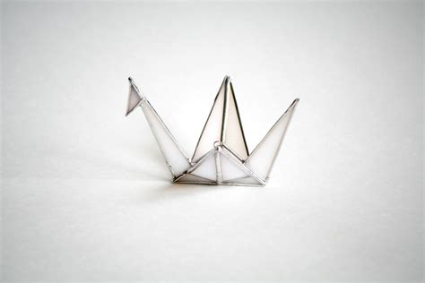 origami glass origami crane white stained glass wedding gift shower