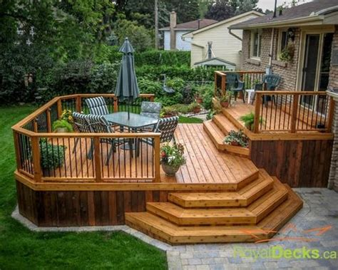 backyard wood patio 25 best ideas about two level deck on