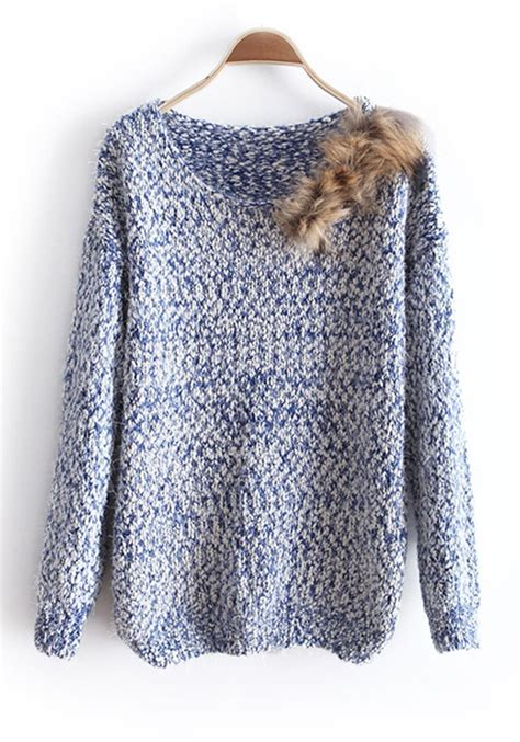 knitted cotton top patterns blue fur neck knitted cotton sweater sweaters tops