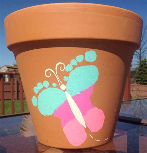 flower pot kid craft butterfly footprint flower pot craft handprint