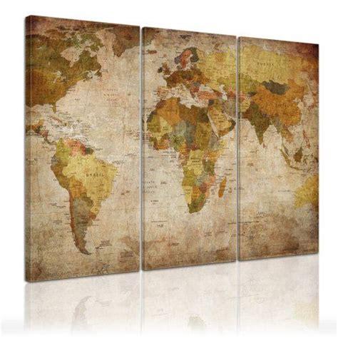 bilderdepot24 d 233 co murale quot carte du monde quot 120x80cm ensemble de 3 toiles tendues sur ch 226 ssis