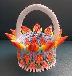 3d origami basket 3d origami flower by flower basket paper crafts