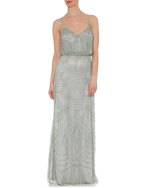 metallic beaded dress papell deco beaded dress in metallic lyst