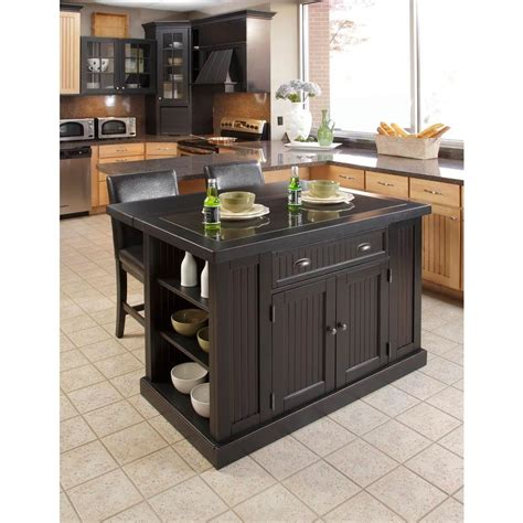 kitchen island with granite top home styles nantucket black kitchen island with granite top 5033 94 the home depot