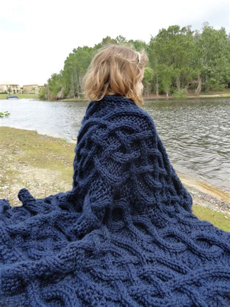 blue knitted throw navy blue cable knit blanket