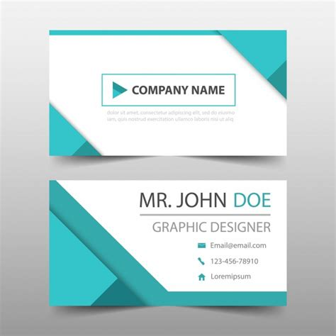 card downloads geometric style turquoise business card vector free