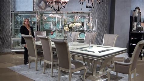 swank dining set swank rectangular glam dining room set by michael amini seymour aico