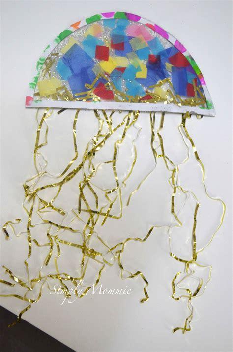 paper jellyfish craft sea themed crafts contact paper jellyfish craft