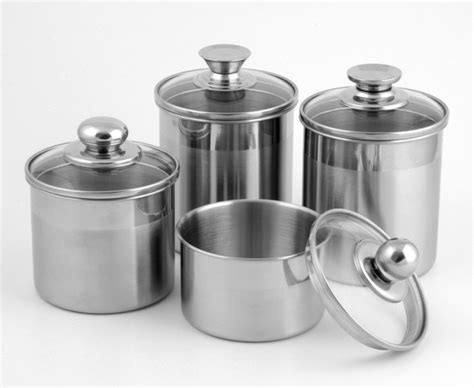 Western Kitchen Canisters china 5 inch stainless steel canister with glass lid