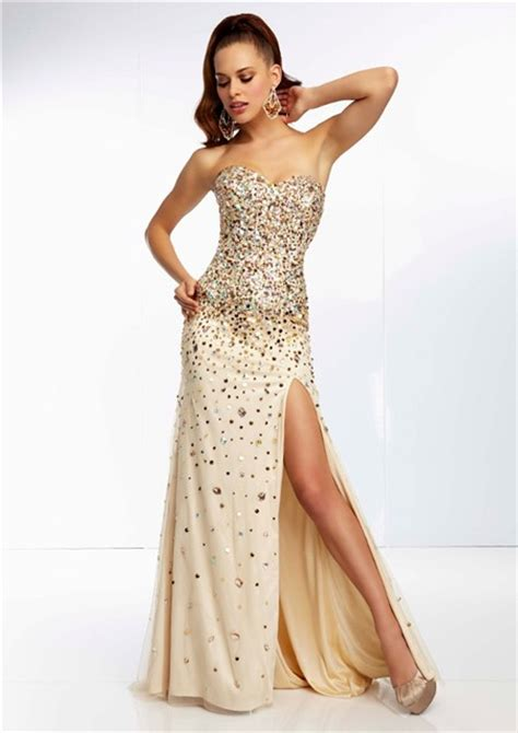 prom dress with gold beading sheath sweetheart chagne silk tulle gold beaded