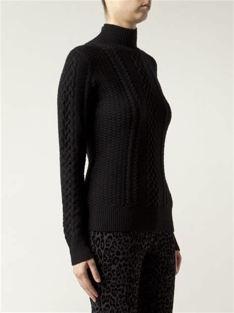 black cable knit sweater jason wu cable knit sweater in black lyst