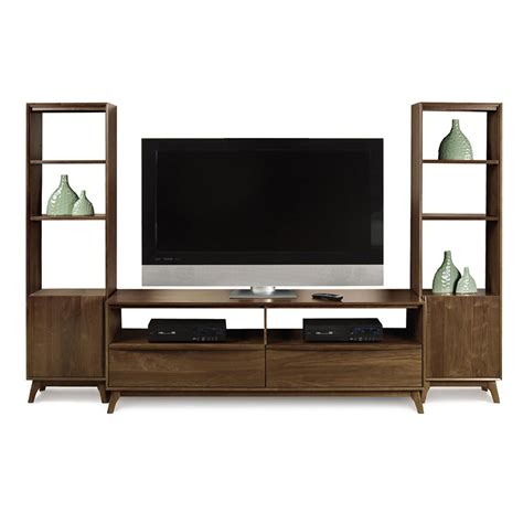 wall furniture walnut tv media wall unit american made