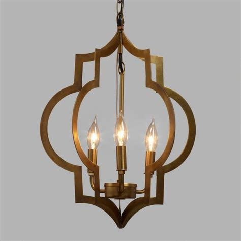 3 pendant light fixture gold quatrefoil 3 light pendant l world market