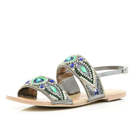 beaded sandals river island green tribal beaded sandals in green lyst