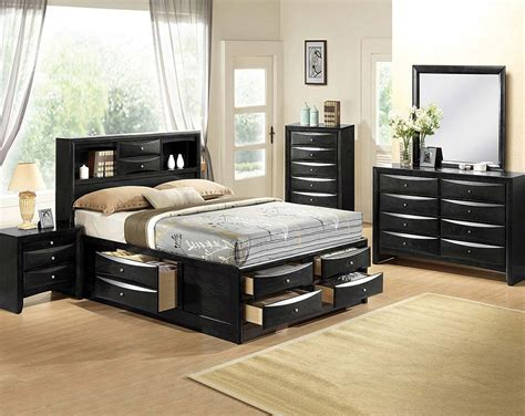 bedroom set with storage black bedroom suite mirror dresser emily storage