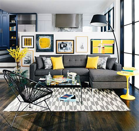gray interior design 1st place grey living room decor with pops of yellow picsdecor