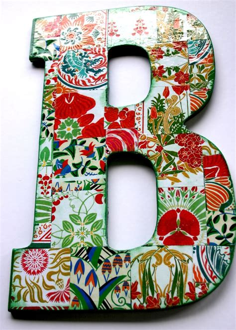 how to make decoupage letters large decoupage wood letter b b is for barbara