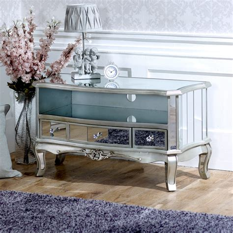 mirrored tv cabinet living room furniture mirrored vintage style tv cabinet unit shabby chic