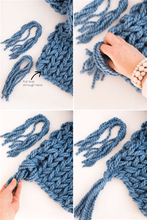 how to end a knit scarf arm knit scarf with tassels flax twine
