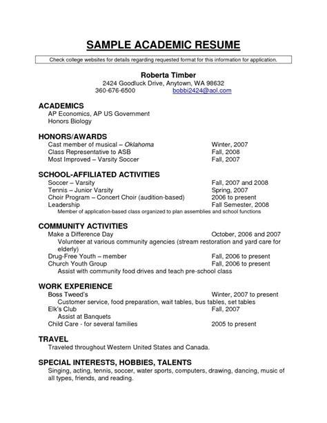 academic resume templates free resume templates