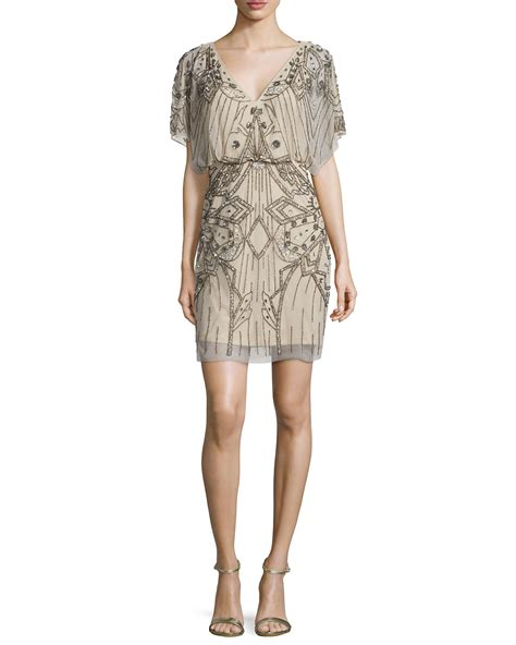 Aidan Mattox Sleeve Sequined Beaded Blouson Dress