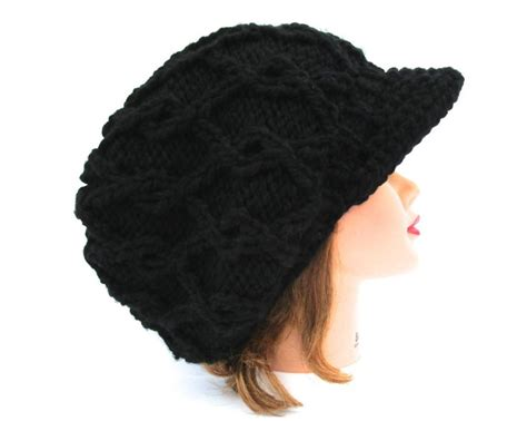 black knit hat with brim black newsboy hat cable knit cap s slouchy hat