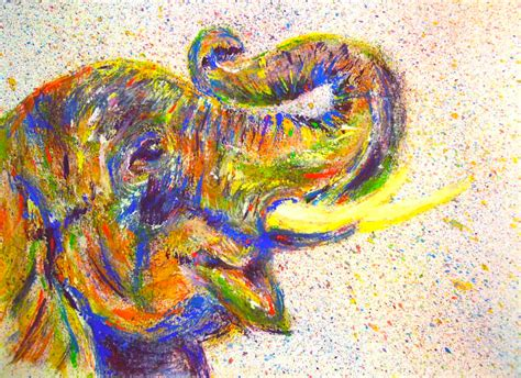 spray painting using brush an elephant a day elephant no 338 painting with a