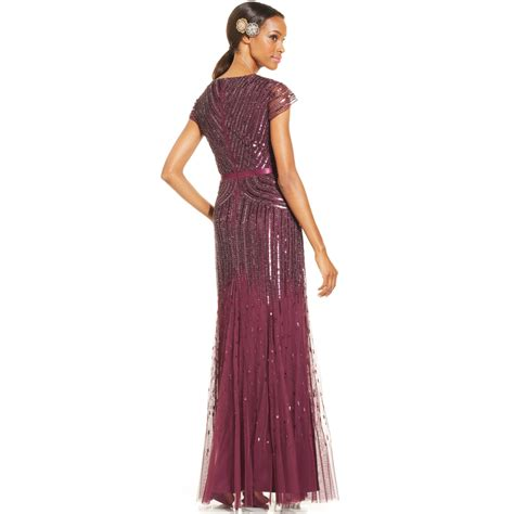 cap sleeve beaded sequined gown papell cap sleeve beaded sequined gown in pink