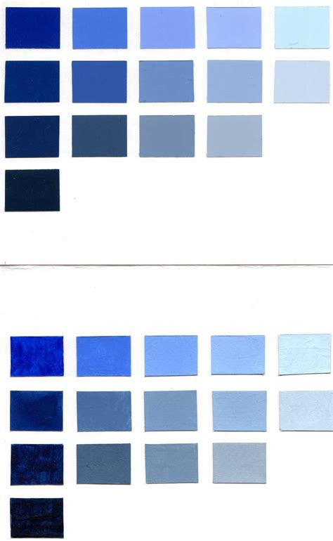 paint colors in blue blue color chart in color