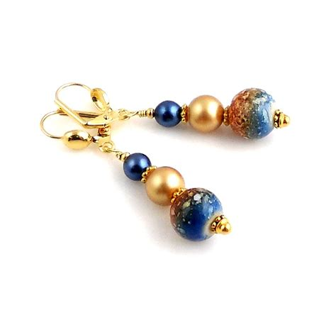 beaded dangle earrings blue and gold beaded dangle earrings beadwork earrings