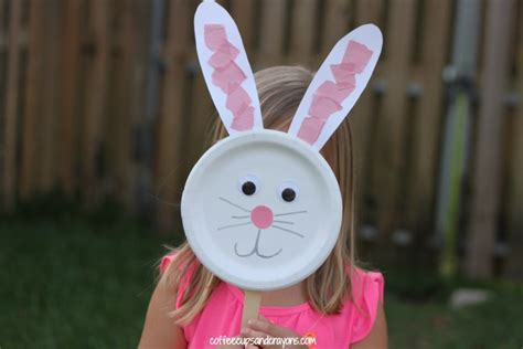 bunny craft for bunny paper plate puppet craft coffee cups and crayons