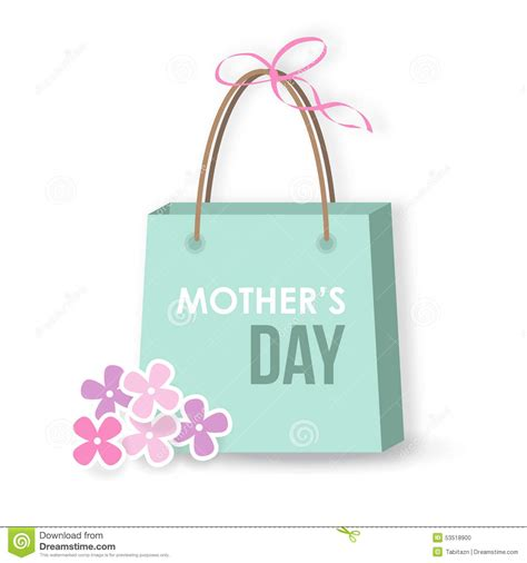 gift shopping mothers day card icon gift shopping bag stock vector