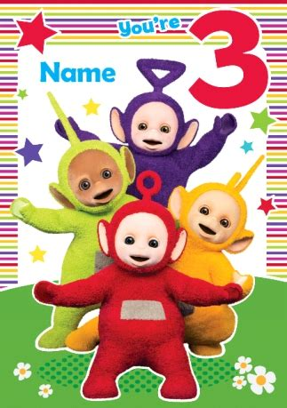teletubbies cards teletubbies birthday card you re 3 today funky pigeon